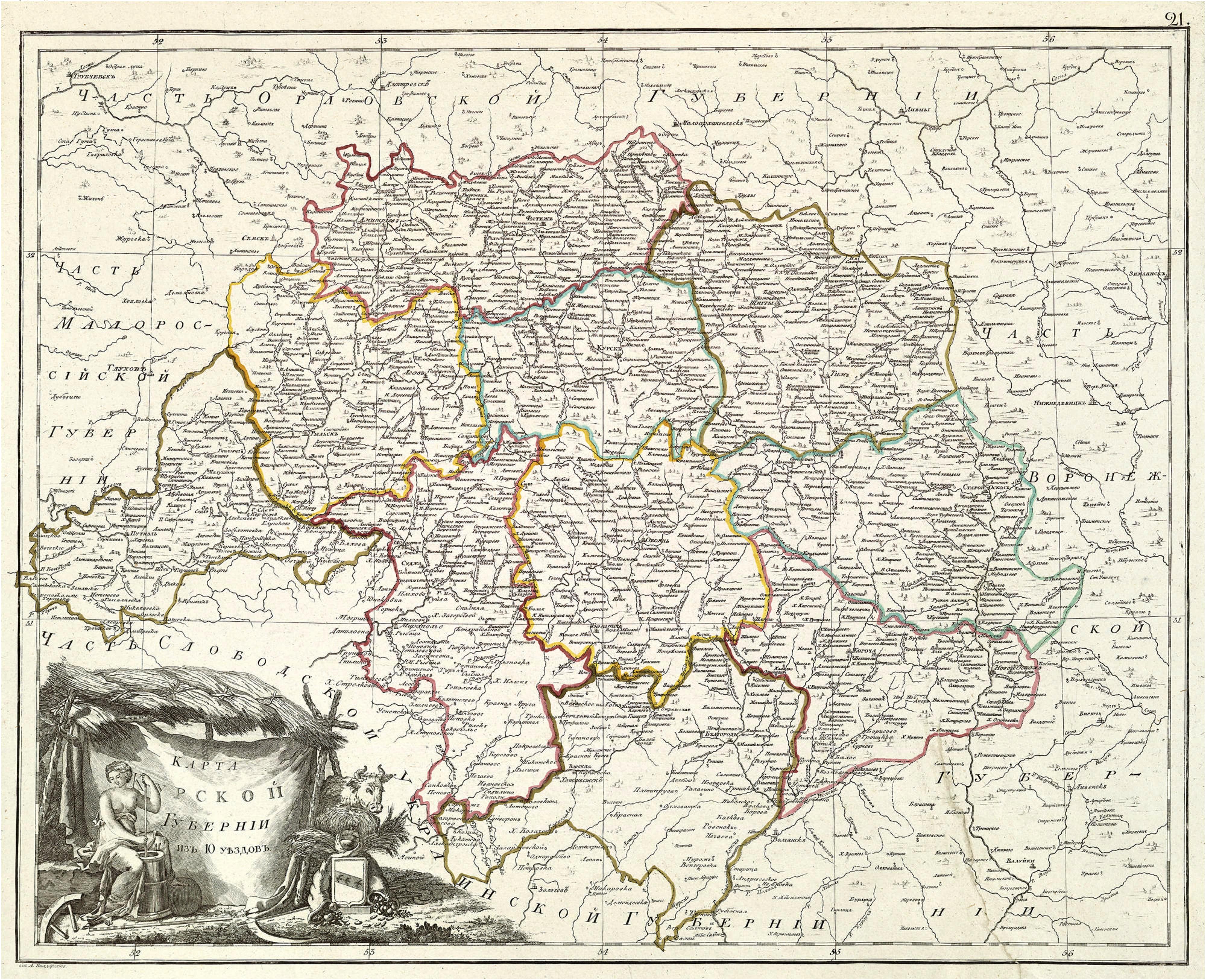 Карта Курского наместничества из 10 уездов